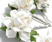White Rose Hair Clips, Flower Clips, Wedding Flower Pins, Bridal hair pins, Bobby Pin Flowers, Floral Hair Bobbies