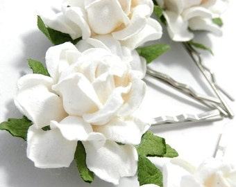 White Rose Floral Hair Clip Set/ Traditional/ Bridal/ Wedding Hair Accessories/ Bridesmaid Bobby Pin/ Wedding Flower Clips