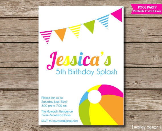 photo relating to Pool Party Printable titled Pool Get together Birthday Invitation Printable Pool Occasion Seashore