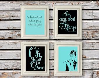 Digital Download, Breakfast at Tiffanys, Audrey Hepburn, Holly Golightly Print