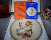 Goebel Hummel 1974 3D Relief Annual  Plate - Goose Girl  - In original Box