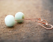 pendulum... copper amazonite earrings / copper, silver bead & amazonite ball / mixed metal