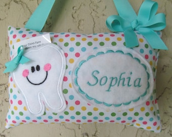 Tooth Fairy Pillow Polka Dots Aqua Personalized
