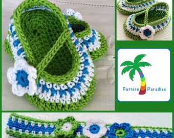 Baby Girl Mary Janes Booties  and Headband Set, Crochet Pattern PDF 12-046 INSTANT DOWNLOAD