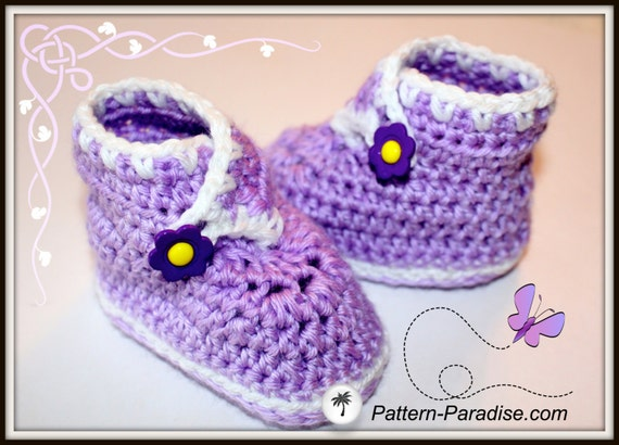 Crochet Pattern Baby Booties, Sweet Feet Slippers Shoes, PDF 12-036 INSTANT DOWNLOAD