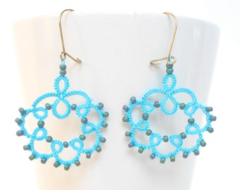 Tatting pattern - turquoise tatted earrings - for shuttle tatting