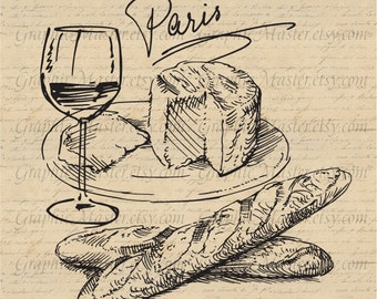 Paris French Food Wine Cheese Traveling Graphics Digital Image Download Iron on Transfer Clip Art pillows fabric bags tea towels PNG JPG