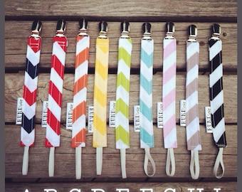YOUR CHOICE - Riley Blake chevron stripe PACI clip