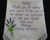 Free Gift Box. Personalized Wedding Handkerchief for your Mother of the Groom.