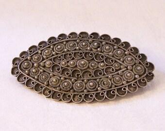 Broche vintage de Cannetille argent, Silver enroulé broche
