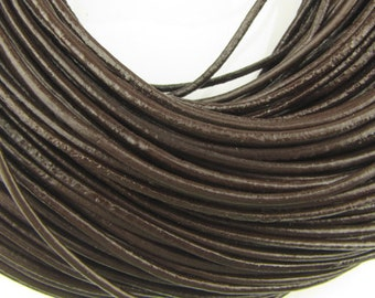 2mm round  Brown leather cord, 10 feet