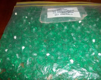 Faceted Green Pony Beads