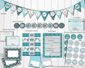 Baby Shower Decorations: Gray & Teal Elephant, Printable, DIY, Instant Download, Gender Neutral by Little Party that Could