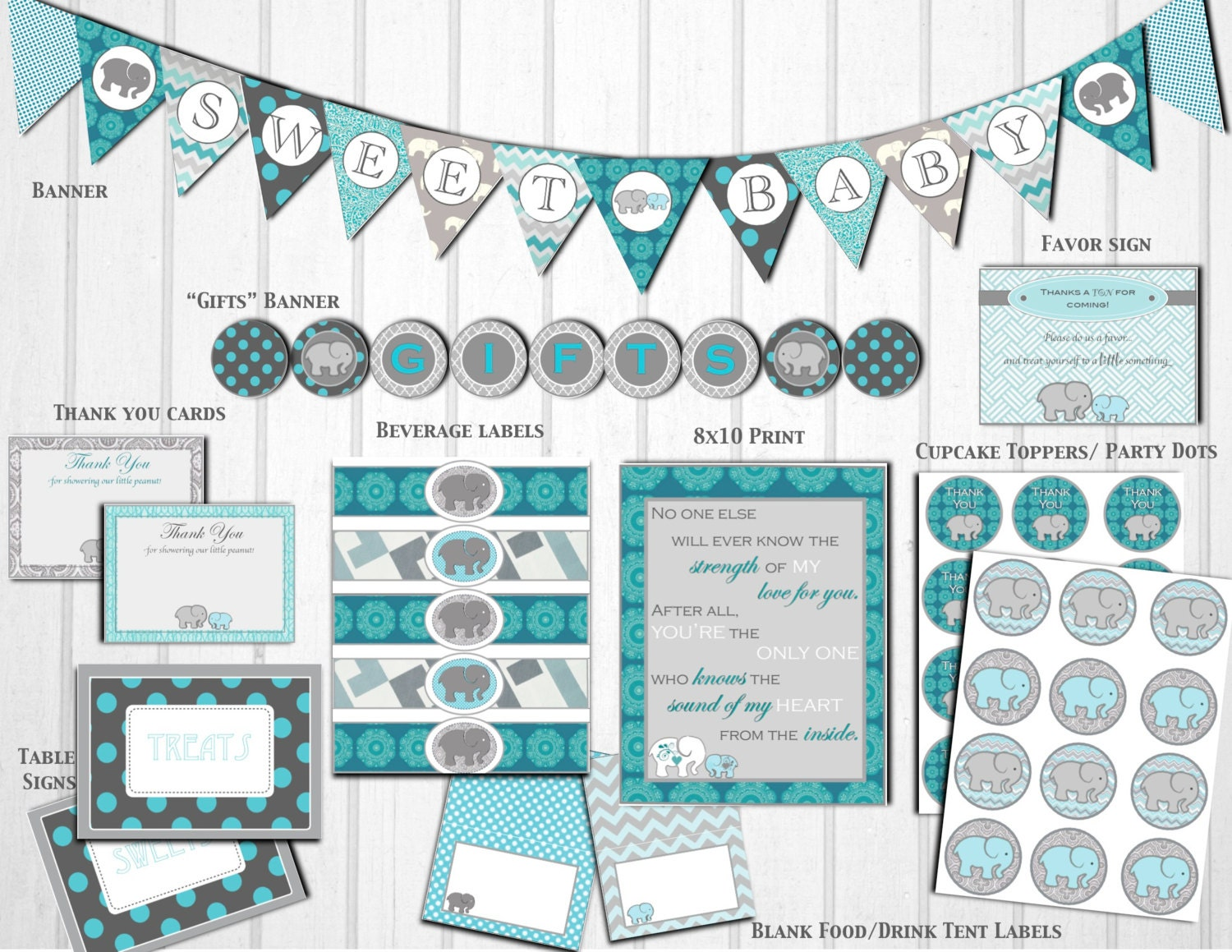 baby shower decorations gray teal by littlepartythatcould