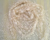 Triangle Scarf Beige Lace Scarf Floral Scarf with Fringe Long Scarf Fashion Scarf