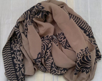 Long Scarf Black and Brown Scarf Indian Sari Scarf LSF0