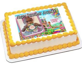 Edible Icing Frosting Image Birthday Sticker Decal Decoration ADD A PHOTO Cake Topper Land of Candy & Gumdrops (0047)