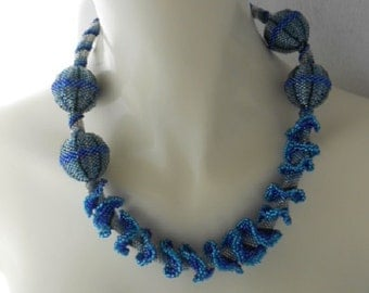 Blue Argyle Sea, OOAK bead woven necklace