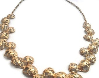 Gold Pods necklace . Made to order ,Gold statement necklace from the sabrawear collection gift for her