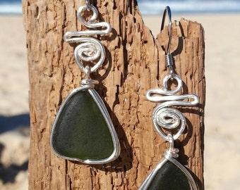 Olive green Seaglass Earrings