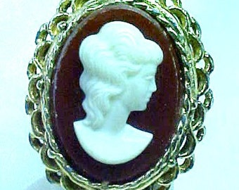 Large Vintage Cameo Ring - adjustable