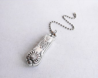 Fan Pull - Upcycled Vintage Silver Plated Silverware with Ball Chain