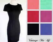 ANNABELLE Dress Wiggle, Pencil, Rockabilly, Pinup//Mad Men Inspired Dress//Cap Sleeves//Bridesmaid Dress//6 COLORS, Sizes XXS-3X