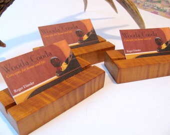 Three wood business card holders, custom made from roasted curly maple.