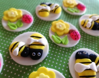 12 Fondant edible cupcake/cookie toppers, ladybug, bumble bee, fondant flower, baby shower