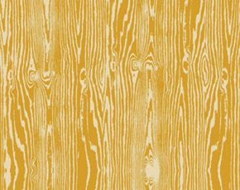 Wood Grain in Straw by Joel Dewberry - 1/2 Yard - Free Spirit - Yellow Fabric - Faux Bois - True Colors - Mustard Yellow - Wood Grain Fabric
