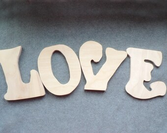 unfinished wooden letters word love natural eco friendly