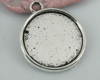 8pcs tibetan silver color round cabochon settings EF0426