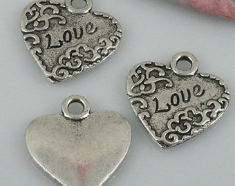 22pcs tibetan silver color heart Love charms EF0454