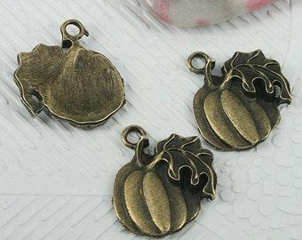 18pcs antiqued bronze color pumkin design charms EF0591