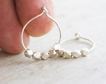 Silver nugget hoop earrings. Hammered hoops. Silver small hoops. Hoops with silver nuggets.