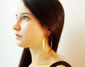 Large gold hoops, gold plated brass hoop earrings, lovely, affordable hoops of modern design, made to order