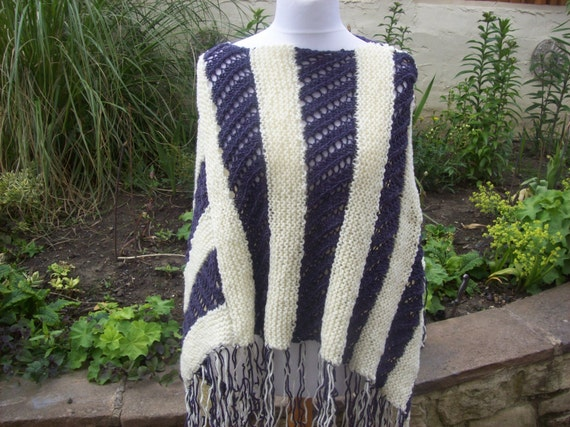 Cream and Puple Poncho Hand knitted - One of a Kind - Womens - Acrylic Wool mix