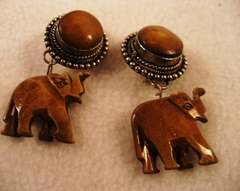 Marked Elagante Shaded Brown Stone Carved Elephant Dangle Clip Earrings