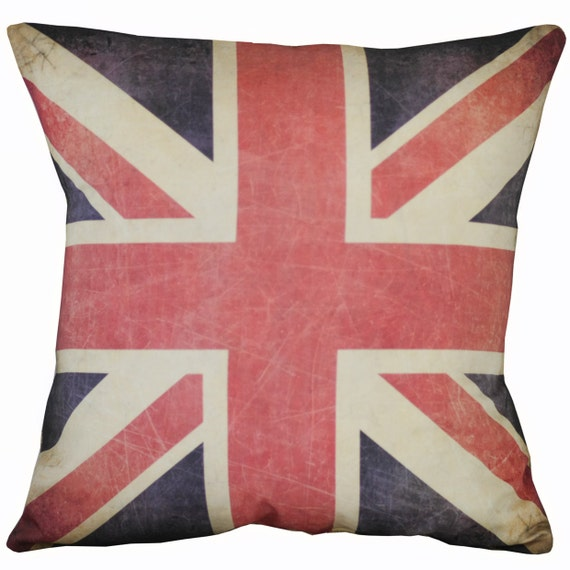 Vintage British Flag Union Jack Burlap Cotton Throw Pillow Cover