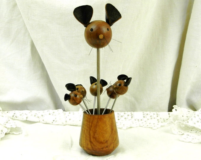 Vintage Set of 5 Vintage Mid Century French Cocktail Sticks with Mice Heads, Stainless Steel and Horn / Retro Home Interior / French Vintage