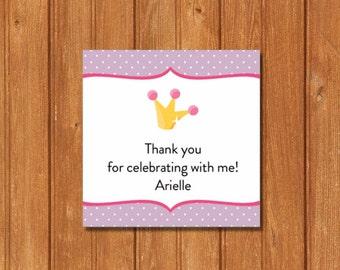 Princess Pea Slumber Party KI373GT Square Favor Tags, Editable and Printable-PDF Files, Instant Download
