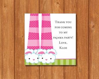 Pancakes & Pajamas KI394GT Square Favor Tags, EDITABLE and PRINTABLE-PDF Files, Instant Download