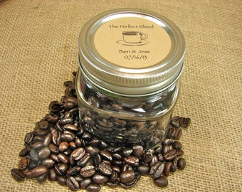 Wedding Coffee or Tea Favors - Vintage Cup Design Mason Jar Wedding Favors - 20 Eight Ounce Square Mason Jars  -tf