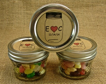 Mason Jar Wedding Favors - Personalized -20 Four Ounce Quilted Mason Jars - Heart in a Jar Design