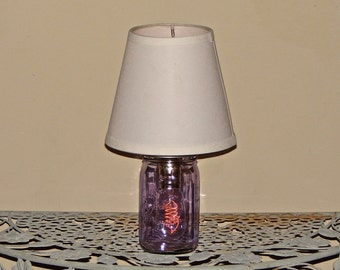 Handmade Mason Jar Lamp With Shade - Purple Mason Jar