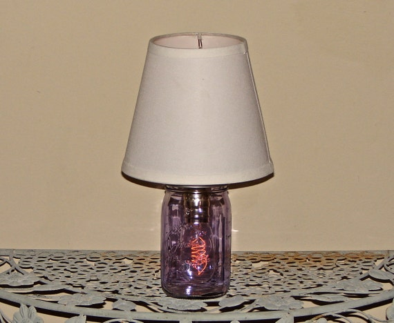 handmade mason jar lamp with shade purple mason jar. Black Bedroom Furniture Sets. Home Design Ideas
