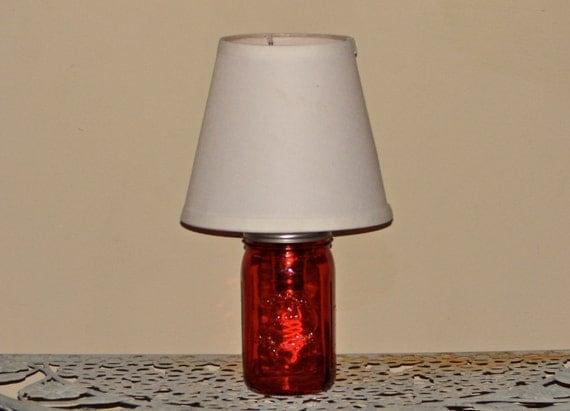 handmade mason jar lamp with shade red mason jar. Black Bedroom Furniture Sets. Home Design Ideas