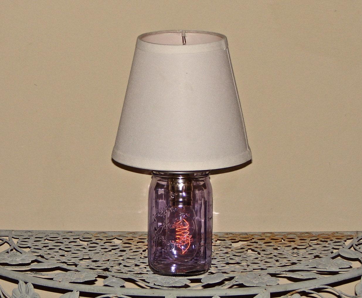 handmade mason jar lamp with shade purple mason by glassactsupply. Black Bedroom Furniture Sets. Home Design Ideas