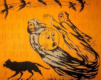 RARE Creepy Ghost Crepe Paper. HALLOWEEN Digital Download. VINTAGE  Illustration.