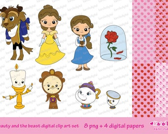 Beauty and Beast digital clip art set - Personal & commercial use